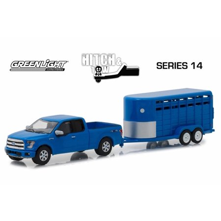 2016 Ford F-150 with Blue Livestock Trailer, Blue - Greenlight 32140C/24 - 1/64 scale Diecast Model Toy Car Aluminum Livestock Trailer