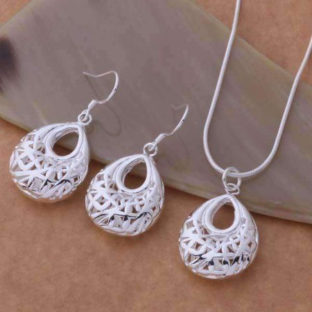 CLEARANCE - Droplet Sterling Silver Filigree Cage Matching Necklace and Earrings Set (Eternity Silver Jewelry Set)