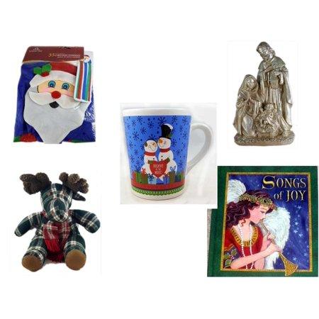 "Christmas Fun Gift Bundle [5 Piece] -  Time  Windsock Santa - Silver Glitter Nativity Scene - Happy s! ""Believe In The Magic"" Snowman Couple Mug - TB Trading Co. Plaid  Moose  13"" - Songs of Joy Har"