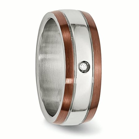 Stainless Steel Brown Plated Brushed Diamond 8mm Wedding Ring Band Size 13.00 Man Fancy Fashion Jewelry Gift For Dad Mens For Him - image 8 de 11