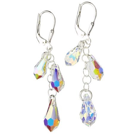 Sterling Silver Earrings Aurora Borealis Multi-Teardrop Made with Swarovski Crystals