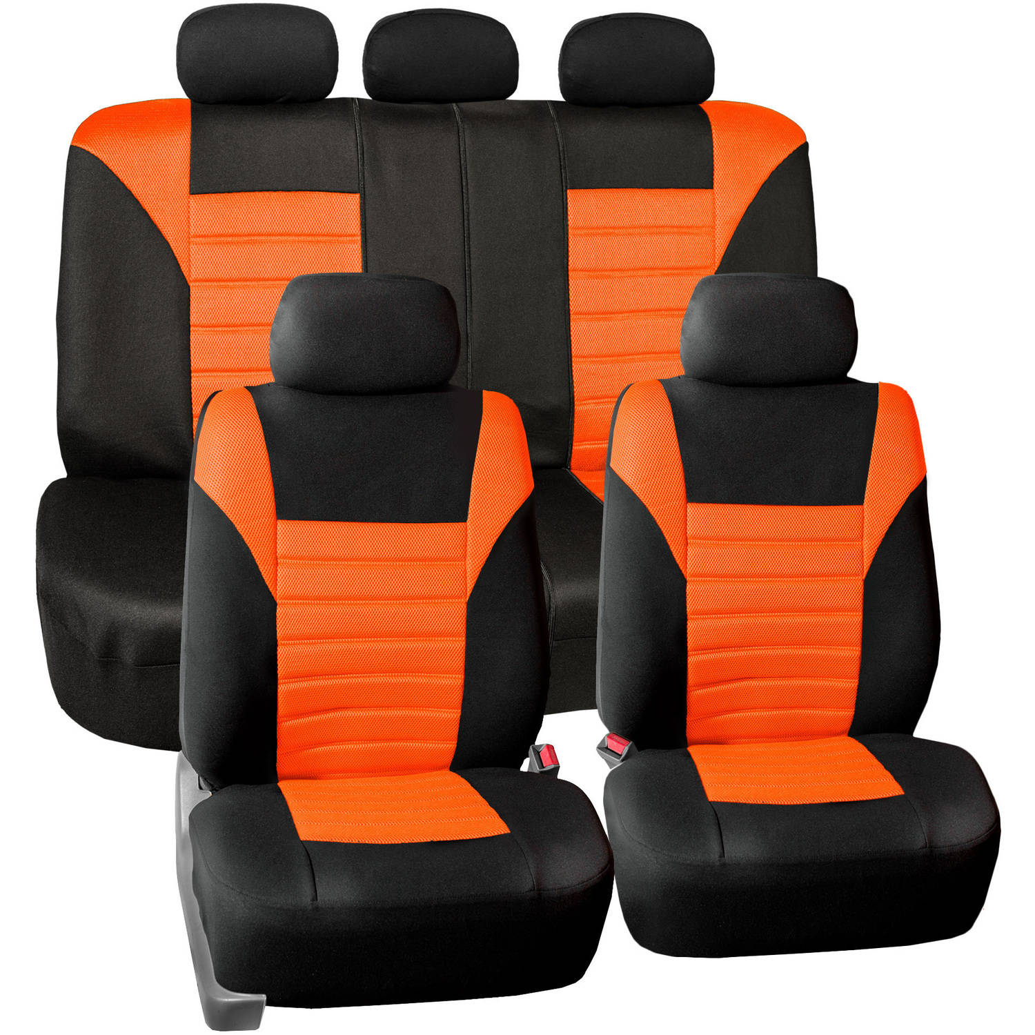 FH Group Universal Fit Premium Airbag Compatible 3D Air Mesh Full Set Seat Covers, Orange
