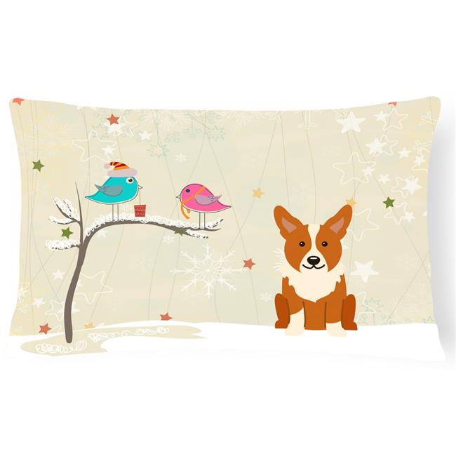 Carolines Treasures BB2572PW1216 Christmas Presents Between Friends Corgi Canvas Fabric Decorative Pillow - image 1 of 1