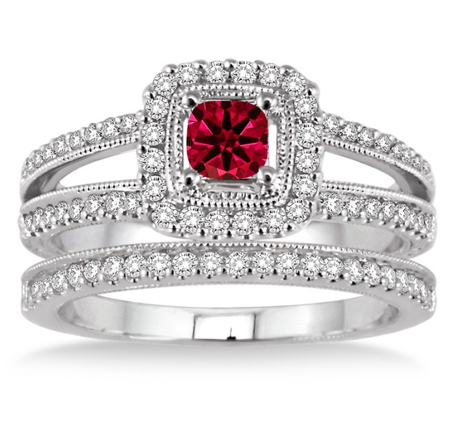 2 Carat Ruby & Diamond Antique Bridal set Halo Ring on 10k White Gold by JeenJewels