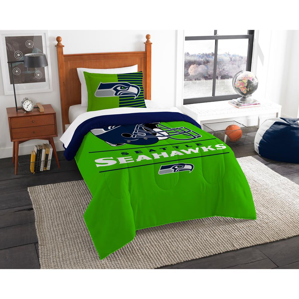 One Size Multicolor The Northwest Company NFL Seattle Seahawks Twin Comforter and Sham