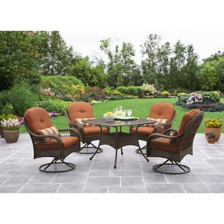 Better Homes And Gardens Azalea Ridge 5 Piece Outdoor Dining Set Brown Vermillion Box 1 Of 2