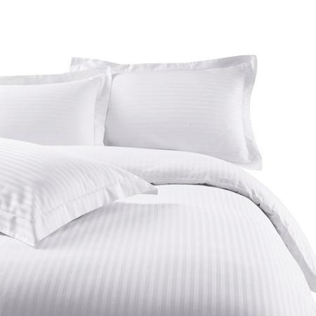 Soft 100% Microfiber Damask Striped 3-Piece Duvet Cover Set - King/California King - White