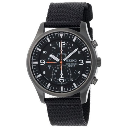 Seiko Men's 100m Chronograph Black Dial Watch with Black Canvas Strap SNDA65