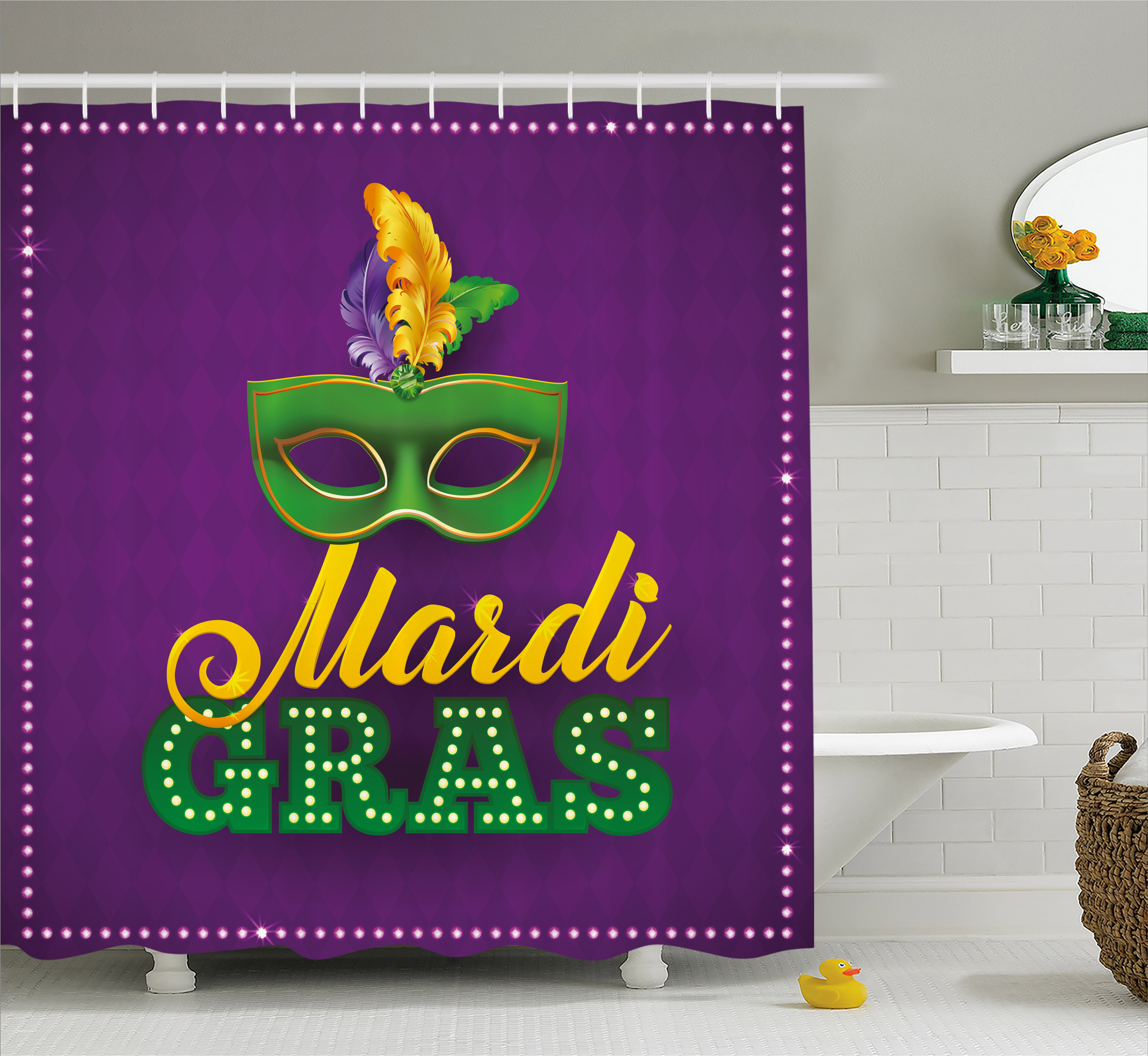 Image of: Purple And Green Shower Curtains On Mardi Gras Shower Curtain Green Mask With Colorful Feathers On Purple Backdrop Styled Calligraphy