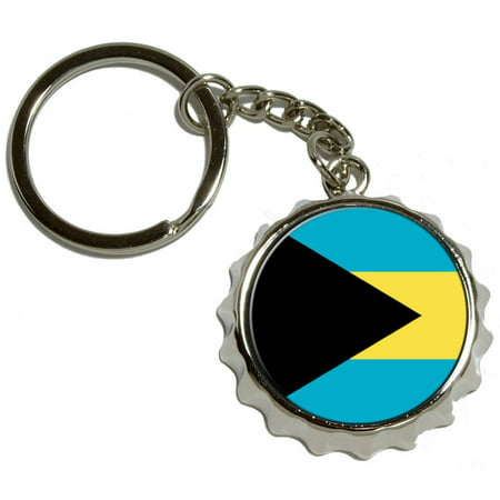 Bahamas Flag, Nickel Plated Metal Popcap Bottle Opener Keychain Key Ring