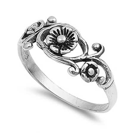 925 Silver Flower Ring (Sterling Silver Women's Simple Flower Tulip Ring Classic 925 Band 7mm Size 6 )