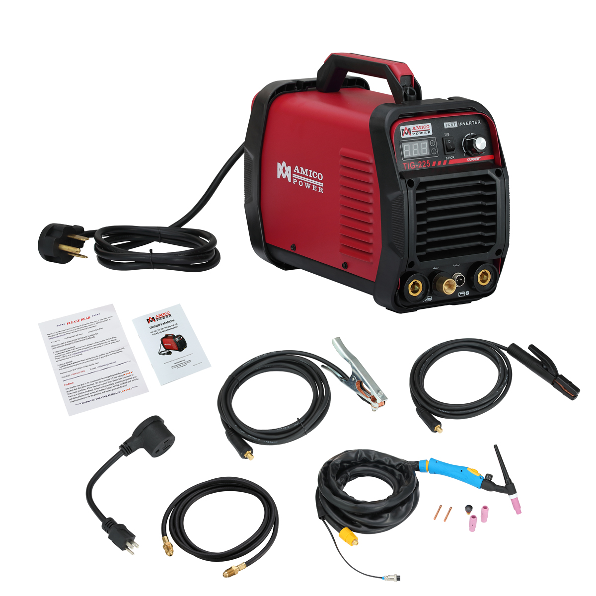 Amico TIG-225 220 Amp HF-TIG Torch Stick Arc Welder 115 & 230V Dual Voltage Welding by Amico Power Corp