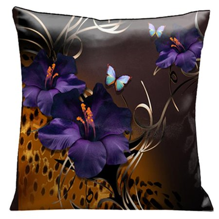 Lama Kasso 69 Purple Gladioli and Butterflies on a Rich Chocolate Background with Animal Print Accents 18 in. Square Satin Pillow