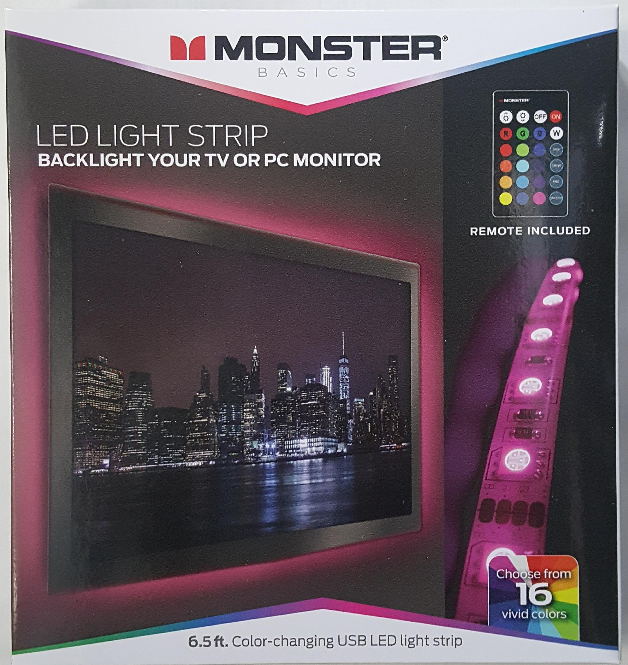 Avanceret Monster Color Changing USB LED Light Strip - 6.5ft - Walmart.com GE38