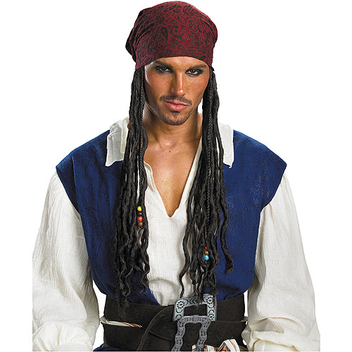 Pirates of the Caribbean Jack Sparrow Headband with Hair Adult Halloween Accessory