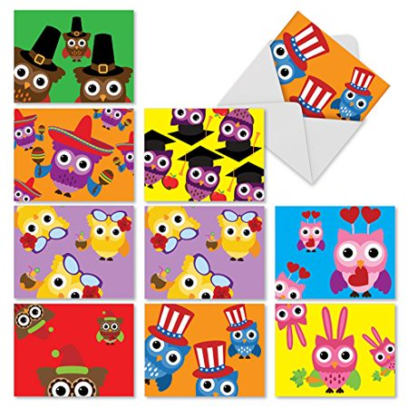 'M3948 OWL-OCCASIONS' 10 Assorted All Occasions Note Cards Featuring Adorable Illustrated Owls Dressed For A Variety Of Holidays And Occasions with Envelopes by The Best Card