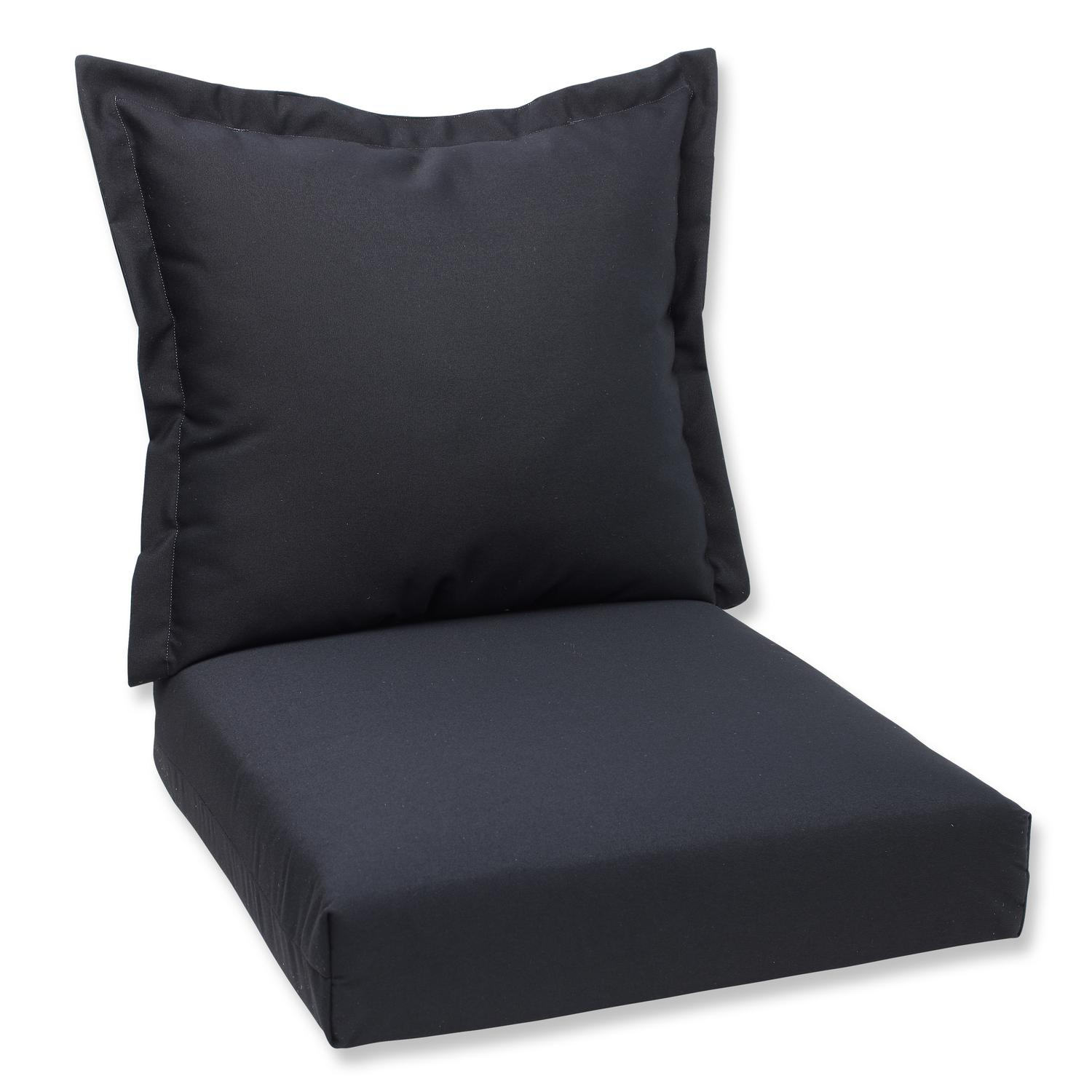 "44"" Sunbrella Black Outdoor Patio Deep Seating Cushion and Back"