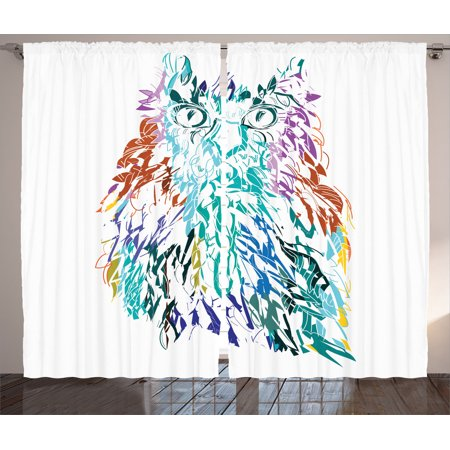 Owls Home Decor Curtains 2 Panels Set, Owl With Fluffy Swollen ...