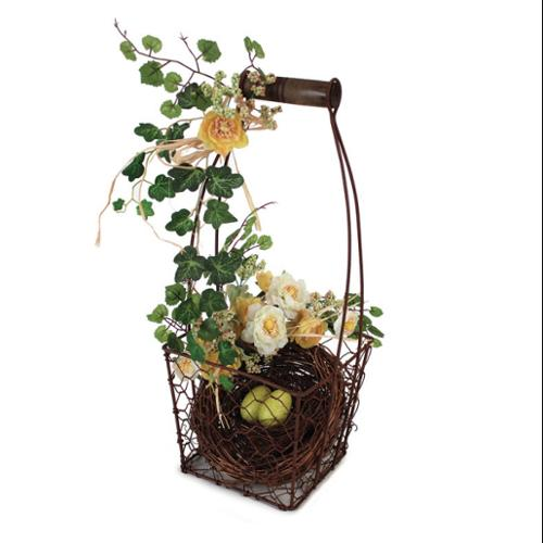 """Pack of 2 Artifical Flower and Bird's Nest Decorative Baskets 15.25"""""""