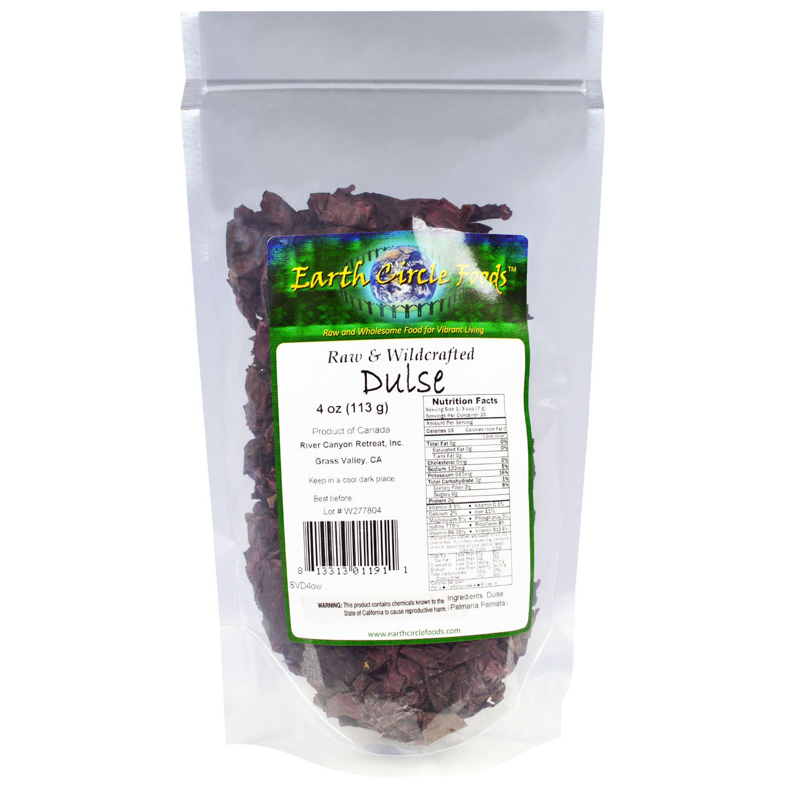 Earth Circle Organics, Raw & Wildcrafted Dulse, 4 oz (pac...