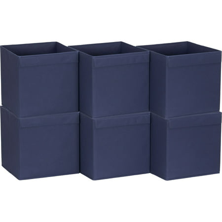 Household Essentials Lip Pull Collapsible Fabric Cubes, 6pk, Navy ()