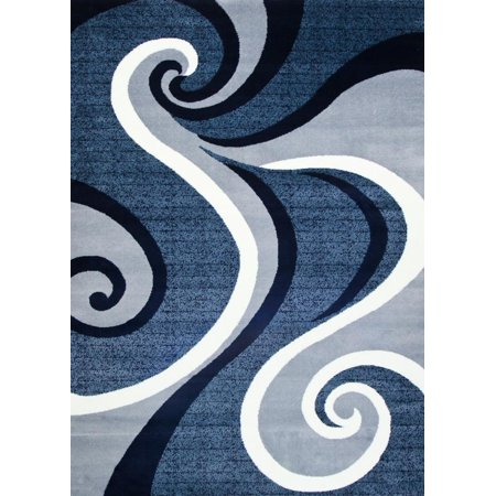 - Persian Rugs 0327 Blue Swirls Modern Abstract Area Rug 5x7