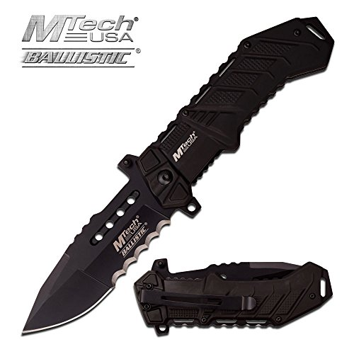 Rogue River Tactical Exclusive Mtech USA Tactical Knives Spring Assisted Folding Pocket Knife Heavy Duty Military Grade Combat with Belt Clip (Black)