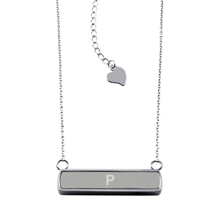 Stainless Steel Laser Engraved Alphabet Letter P Initial Horizontal Bar Charm Necklace