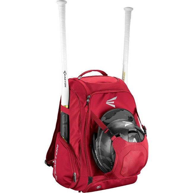 "Easton Walk-Off IV Carrying Case (Backpack) for Bat, Helmet, Cleat, Shoes, Ball - Red - Felt Pocket, Ripstop Polyester, 600D Polyester - Shoulder Strap - 20"" Height x 9.5"" Width x 14"" Depth"