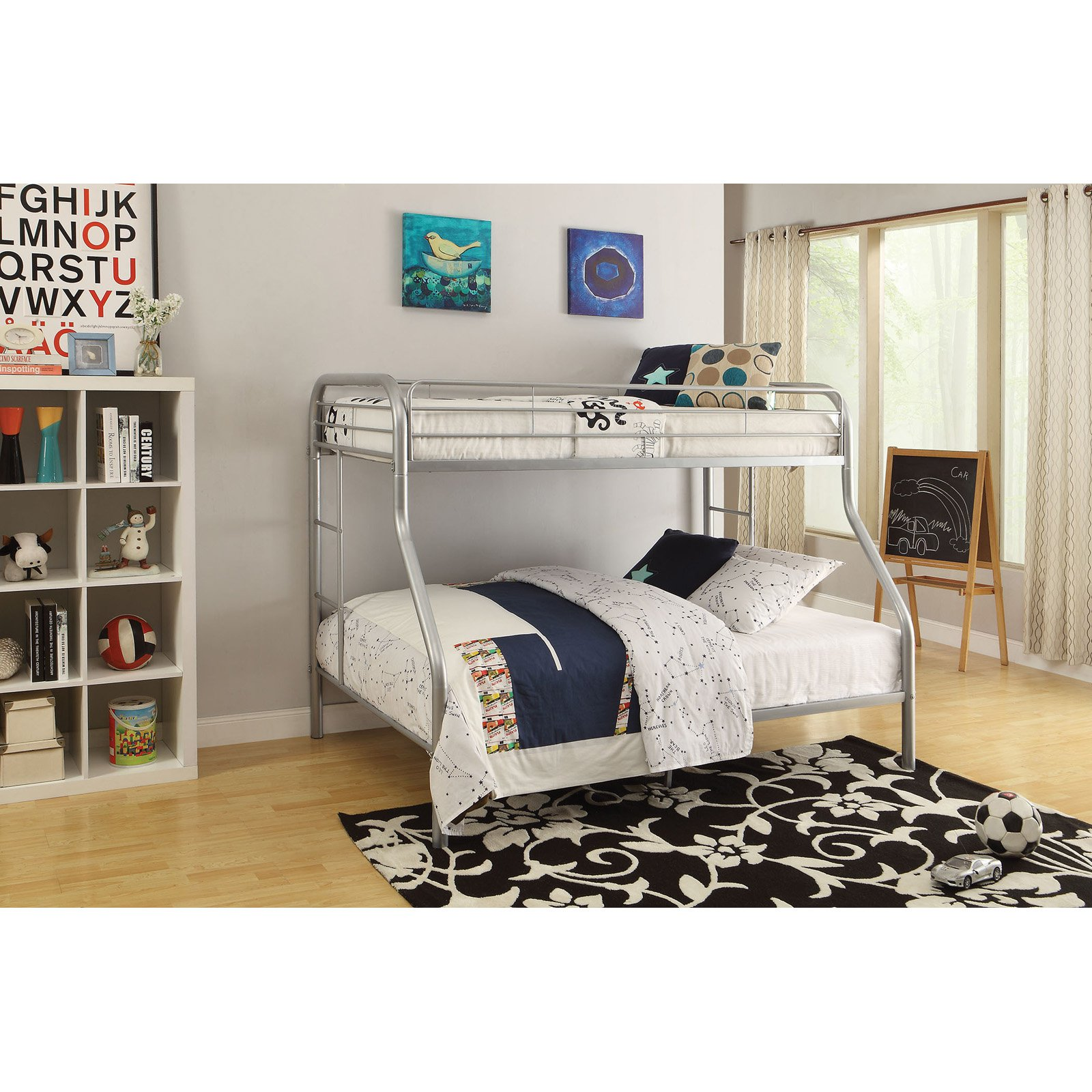 Tritan Twin XL Over Queen Metal Bunk Bed, Silver