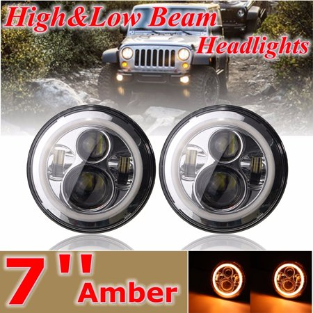 AUDEW Super High Brightness 7 Inch Angel Eyes LED Projector Headlights BLACK For 97-2015  JK Halo Angle Eyes LJ (Angel Eye Halo Projector Headlamps)
