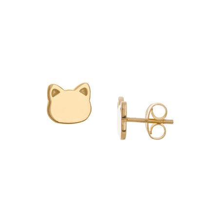 14k Yellow Gold Stud Earrings Cat Face Shape