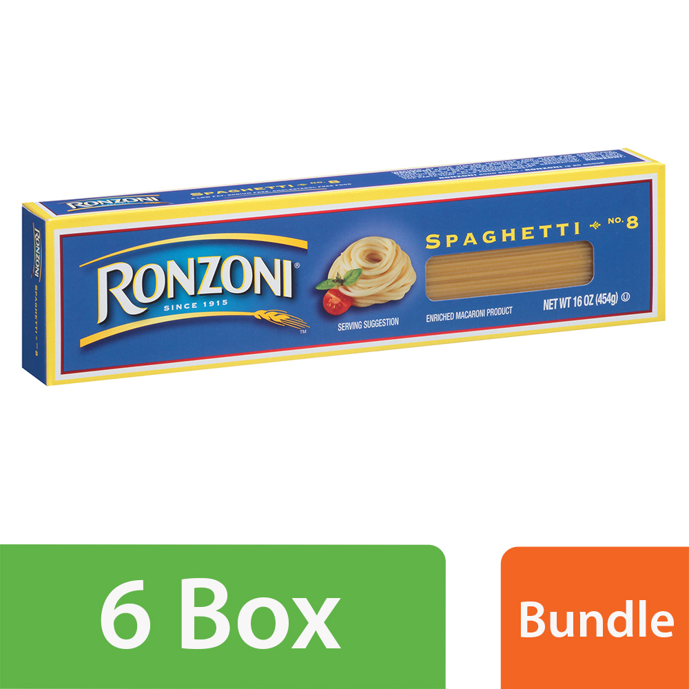 Ronzoni Spaghetti No. 8 Enriched Macaroni Pasta 16 oz (6 Packs)