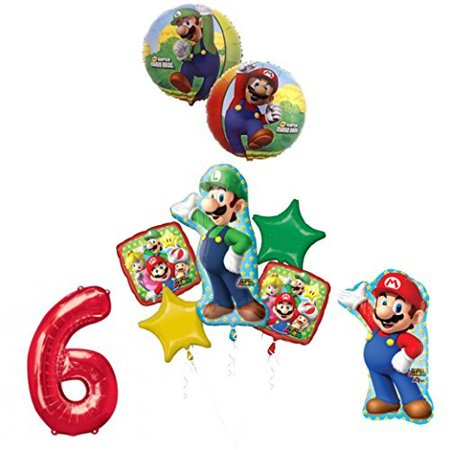 The ULTIMATE Super Mario Brothers and Luigi 6th Birthday Party supplies (Super Mario Brothers Decorations)