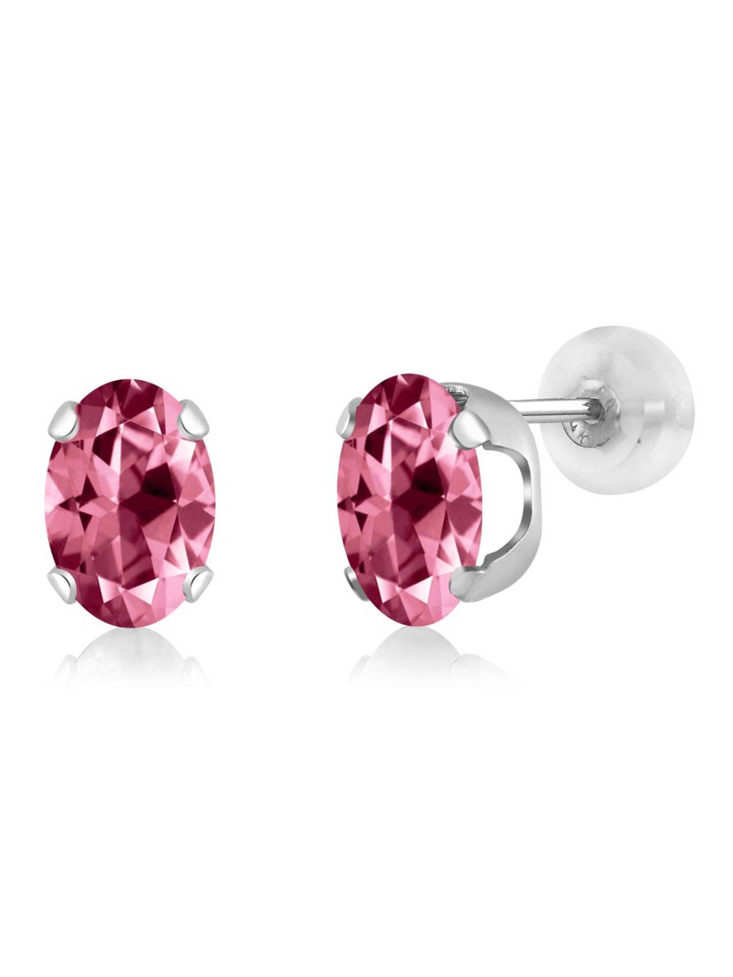 14K White Gold Earrings Set with Oval Pink Topaz from Swarovski by