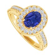 UBUNR84512Y149X7CZS Oval Sapphire & CZ Engagement Ring in 14K Yellow Gold, 32 Stones