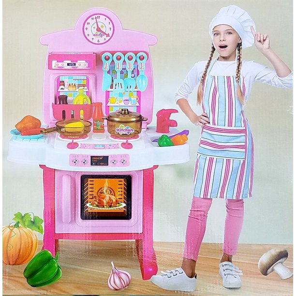 Little Kitchen Playset Kids Play Kitchen With Realistic Lights Sounds Play Sink Toy Other Kitchen Accessories Set For Girls Boys Cocina Juguete 34 Piece Set Walmart Com Walmart Com