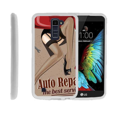 LG K10, LG Premier LTE, K430, Flexible Case [FLEX FORCE] Slim Durable TPU Sleek Bumper with Unique Designs - Vintage Car Sign