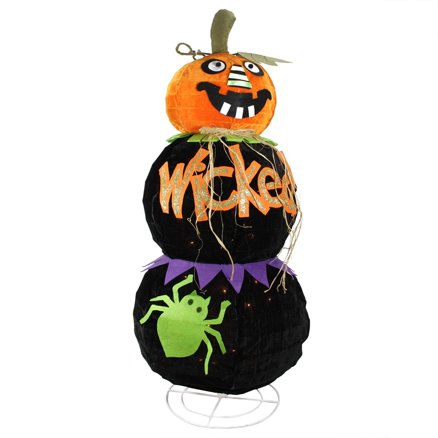"""38"""" Lighted Standing Spooky """"WICKED"""" Black Jack-o-Lantern..."""