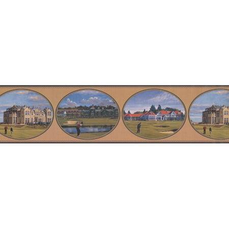 Scene Border (York Wallcoverings Golf Scenes Vintage Sports Retro Design 15' L x 6'' W Wallpaper)