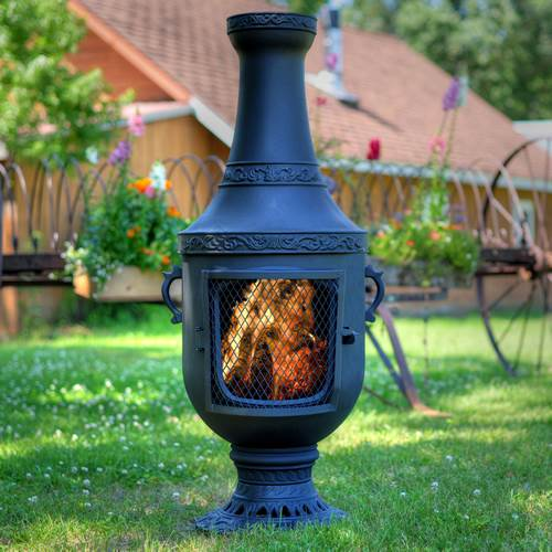 Outdoor Chiminea Fireplace Venetian in Charcoal Finish (Without Gas) by The Blue Rooster