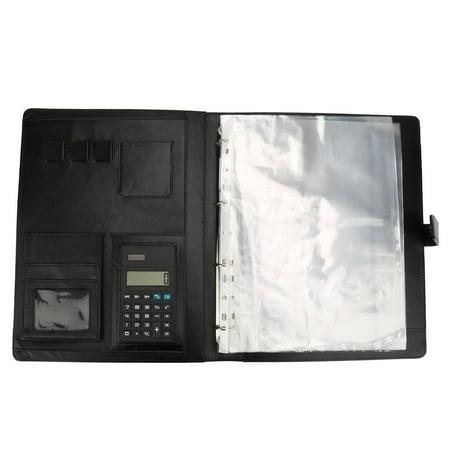Calculator,YMIKO A4 Conference Folder Portfolio Ring Binder Organiser Calculator Leather US Stock,Leather Conference Folder (Calculator For Binder)