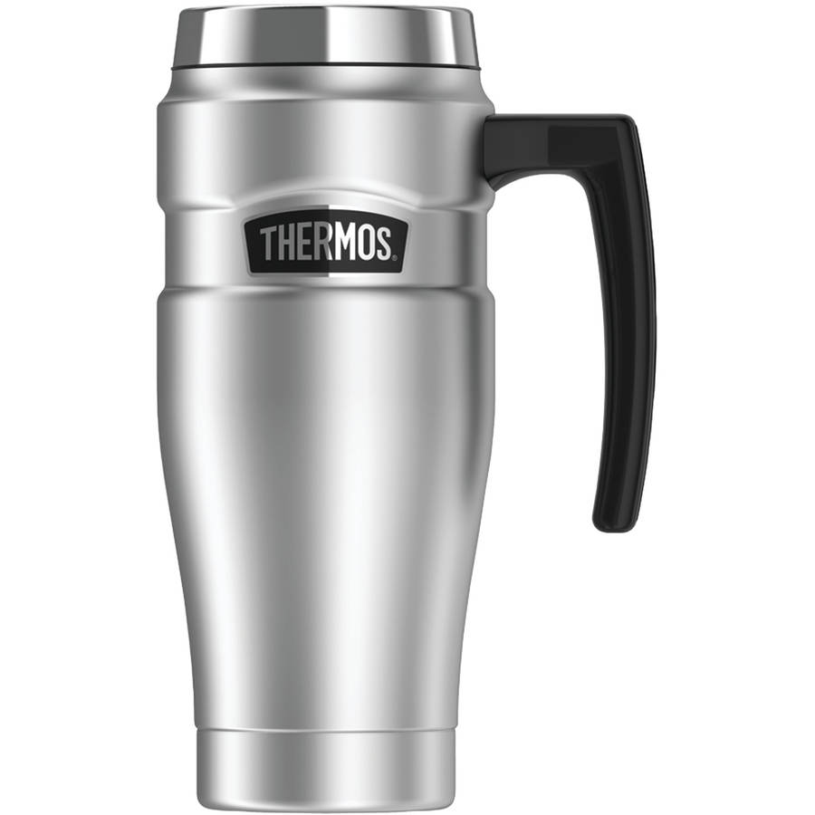 Thermos SK1000STRI4 Stainless King Vacuum-Insulated Travel Mug, 16 oz, Silver