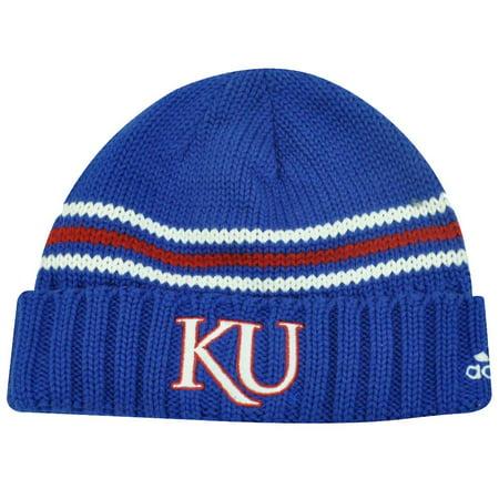 Adidas Beanie Hats (NCAA Adidas Kansas Jayhawks Blue Red Cuffed Beanie Hat Toque Skully)