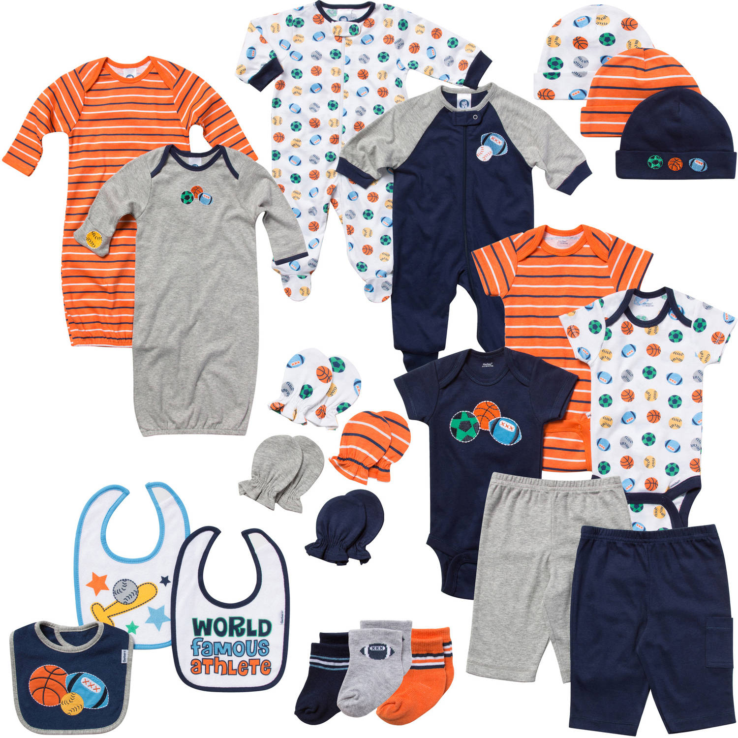 Gerber Newborn Baby Boy Perfect Baby Shower Gift Layette Set, Navy, 22-Piece