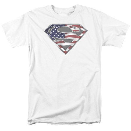 SUPERMAN/ALL AMERICAN SHIELD-S/S ADULT 18/1-WHITE-XL
