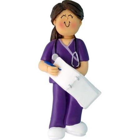 FEMALE BROWN HAIR SCRUBS NURSE HOME HEALTH AID DOCTOR ASSISTANT ORNAMENT - Nurse Ornaments