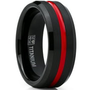 Men's Titanium Ring Wedding Band, Black and Red Plated Brushed Engagement Ring, Grooved, Comfort Fit 7-13