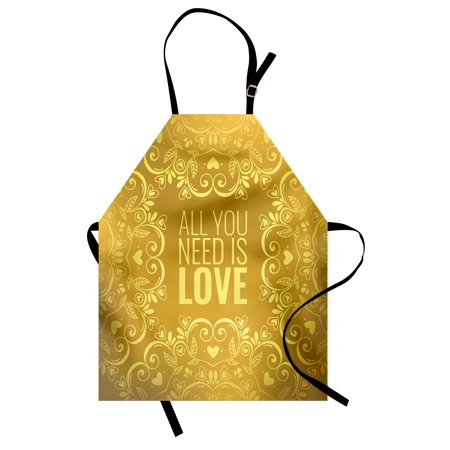 (Mandala Apron Romantic Floral Round Figures Hearts Quote In Love Valentine's Day Doodle, Unisex Kitchen Bib Apron with Adjustable Neck for Cooking Baking Gardening, Goldenrod Yellow, by Ambesonne)