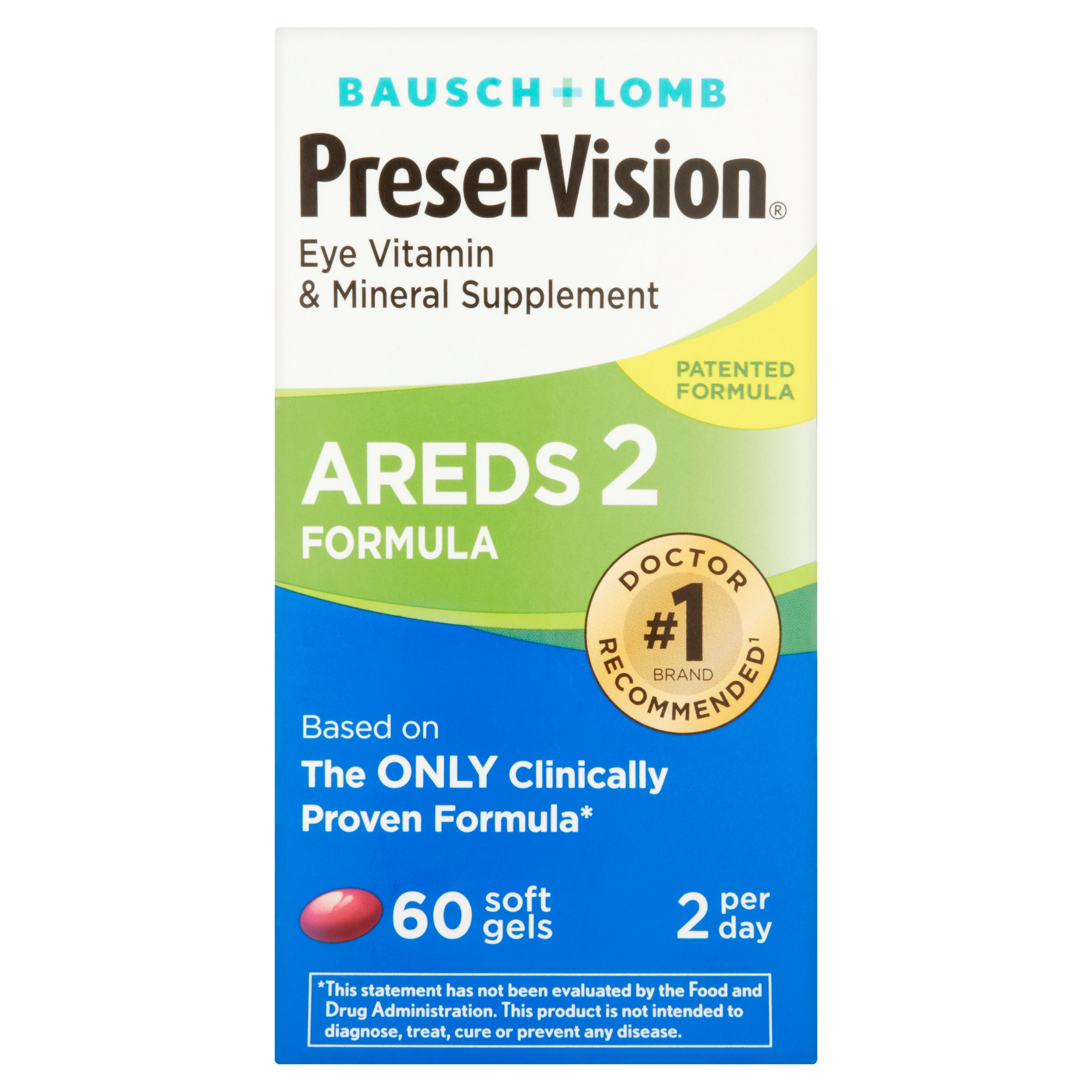 Bausch + Lomb PreserVision Eye Vitamin & Mineral Supplement Areds 2 Formula Soft Gels, 60 count